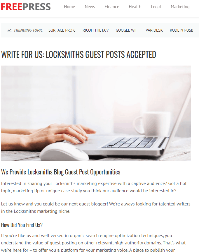 Locksmith SEO Guide Guest Posts