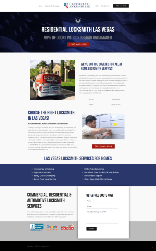 Locksmith Website Design Example 1